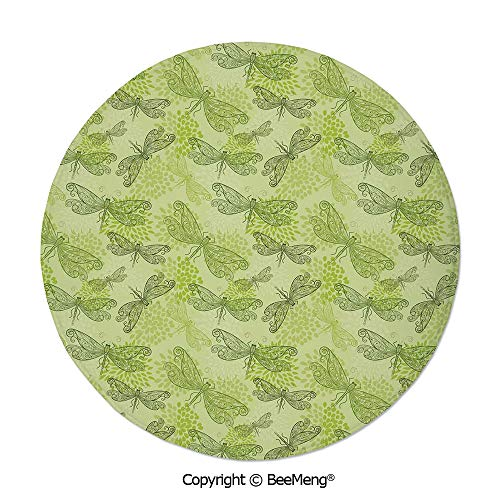 Diameter24 inch,Printing Round Rug,Mat Non-Slip Soft Entrance Mat Door Floor Rug Area Rug For Chair Living Room,Dragonfly,Sketchy Like Bugs with Floral Ivy Print Wings Artwork,Light Green and Dark Gre