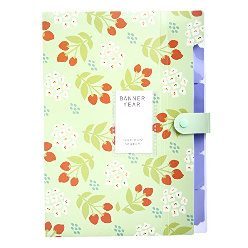 Skydue Floral Printed Accordion Document File Folder Expanding Letter Organizer (Green)