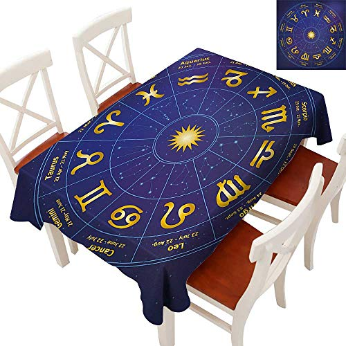 Elegant Waterproof Spillproof Polyester Fabric Table Cover Tablecloths for Rectangle/Oblong/Oval Tables Horoscope Zodiac Signs with Birth Dates in Circle with Star Dots Print Royal Blue and Yellow ()