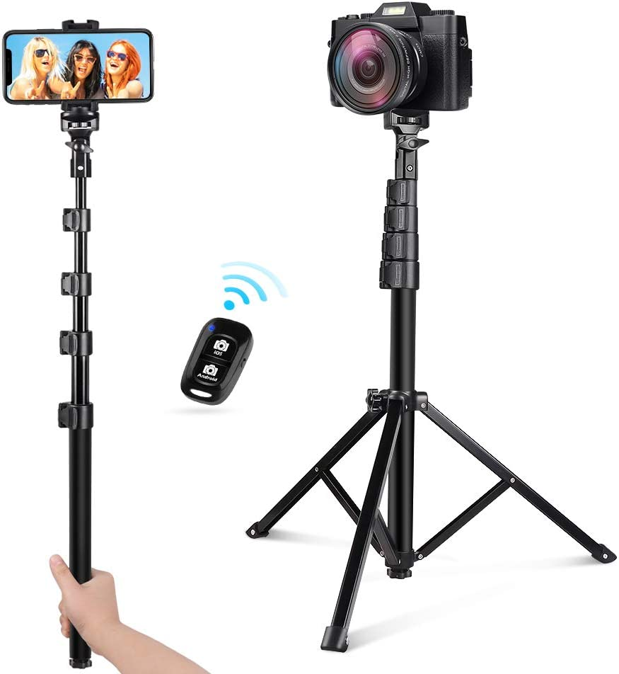 UBeesize 54-inch Selfie Stick Tripod, Detachable and Extendable Phone Tripod for Cell Phone, Compatible with iPhone and Android Phone, Includes Wireless Remote, Cell Phone Holder and Gopro Adapter: Electronics
