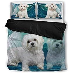 Cute Maltese Bedding Set - Dog Lovers Gifts - Custom Cover Print Design Pillow Cases & Duvet Blanket Cover - Pet Gift Ideas