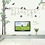 "Amaonm® Giant Large Family Photo Tree Wall Decal Decor Birds Tree Branches & Lettering Memory Wall Stickers Murals for Bedroom Living room, 12pcs Frame, size:114""(w) x 81""(h)"