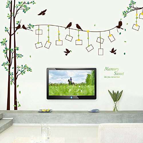 "Amaonm Giant Large Family Photo Tree Wall Decal Decor Birds Tree Branches & Lettering Memory Wall Stickers Murals for Bedroom Living room, 12pcs Frame, size:114""(w) x 81""(h)"