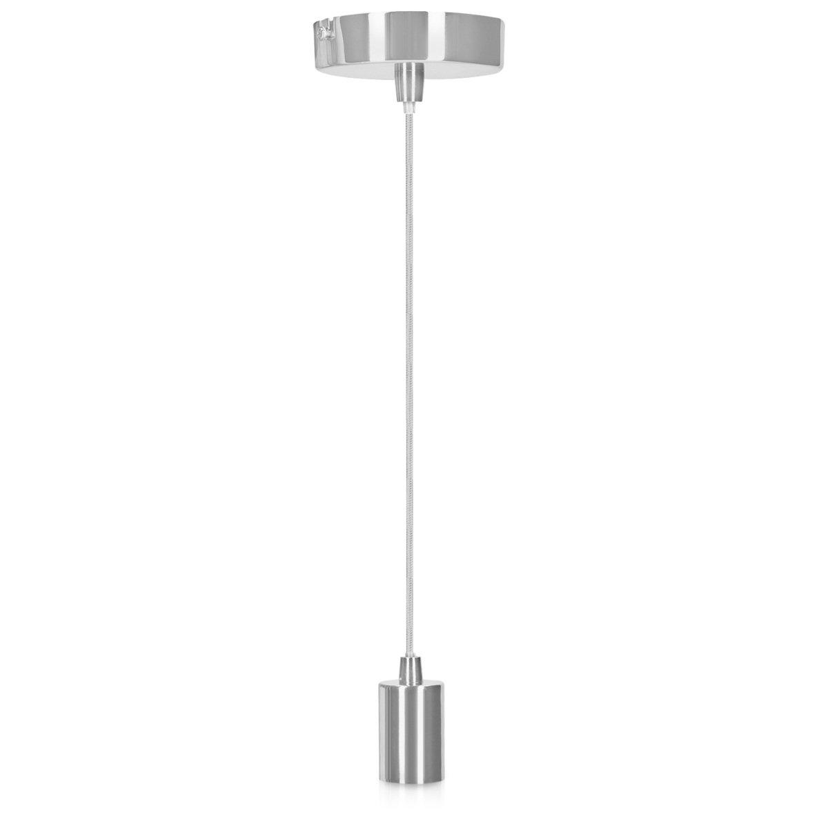Vintage Lampenaufh/ängung in Bronze Optik mit Deckenbefestigung Schraubring 1,30m Kabel schwarz kwmobile E27 Metall Lampenfassung mit Textilkabel