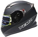 Motorcycle Full Face Helmet DOT Approved - YEMA YM-829 Motorbike Moped Street Bike Racing Crash Helmet with Sun Visor for Adult, Men and Women - Matte Black,Large