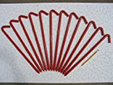 A 12 Pack of 18'' long steel Hook Style Inflatable or Tent Stakes (Red)