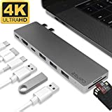 4K HDMI Combo Hub Adapter for MacBook Pro 13' & 15' 2016/2017, EQUIPD Aluminum 8 in 1 USB Type C Charging Port, Thunderbolt 3 port, MicroSD/SDHC/SDXC Card Reader, 3 USB 3.0 Ports - Grey