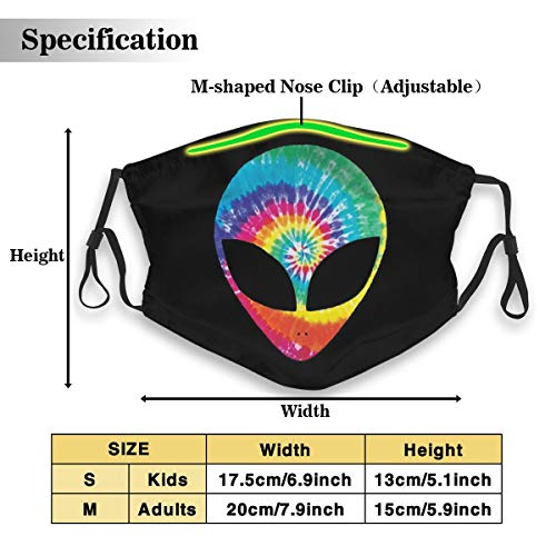 Rainbow Tie Dye Alien Face Dust Mask with 2Pcs Filters,Anti Dust Mouth Mask,Reusable Face Mask