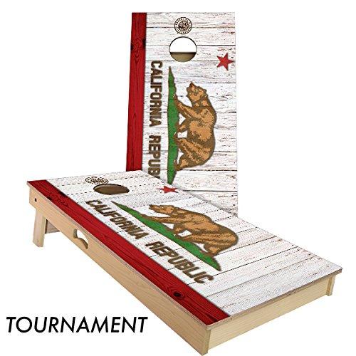 Rustic State Flag 4 by 2 feet Regulation Size Cornhole Boards Sets; 100% USA Made   Slick Woody's Cornhole Company (Full Color California)