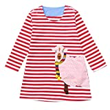 Suma-ma (2-7T) Children Kids Girls Long-Sleeved Striped Cartoon Animal Goat Print Red Dress Clothing,Cute and Lovely