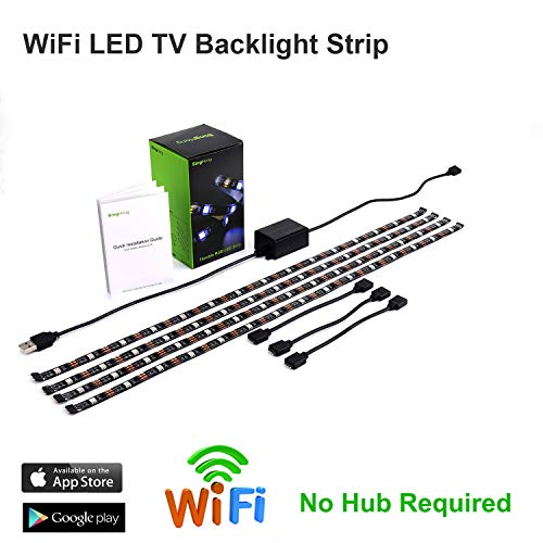 SingHong WiFi LED TV Backlight Strip, Compatible with Alexa and Google Home, USB Powered (5V DC), Flexible RGB 5050 Strips, Colour-Changeable Dimmable LED Strip (New Version)