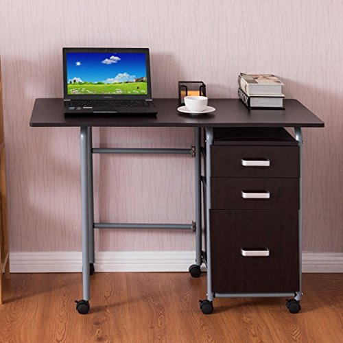 Folding Computer Laptop Desk Wheeled Home Office Furniture w/3 Drawers Brown by Apontus