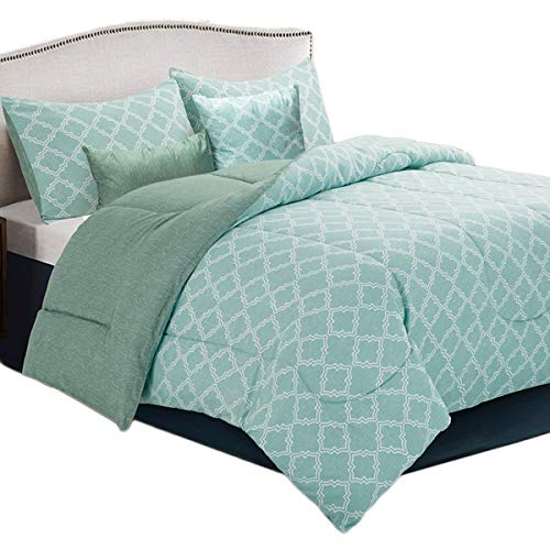 HollyHOME Bed in a Bag Comforter Set Queen Size 5 Pcs Green Geometrical Pattern All Season Comforter (40 In Bag Under Queen Bed A)