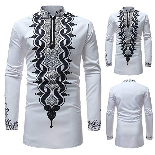 Dressin_Men's Clothes Men's Fashion Printing uxury African Autumn Winter Print Long Sleeve Shirt Top Blouse ()