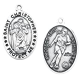 """Soccer Oval Sterling Silver Women or Girls St. Christopher Sport Medals, Patron Saint of Travelers with 18"""" Chain"""