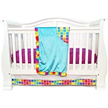 One Grace Place Terrific Tie Dye Infant Crib Bedding Set, Aqua Blue/Royal Blue/Pink