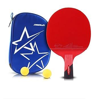 xianw 6 Estrellas Ping Pong Padel - Raqueta de Tenis de Mesa Profesional Mejor con Caucho de Alto Rendimiento - Palas de Madera con Mango Corto-E: ...