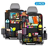 TURN RAISE Car Backseat Organizer, 2 Pack Backseat Car Organizer with Touch Screen iPad Holder, Multi-Pocket Storage for Toy/Bottles/Umbrella ,Car Back Seat Protectors Backseat Child Kick Guard Seat Saver Black