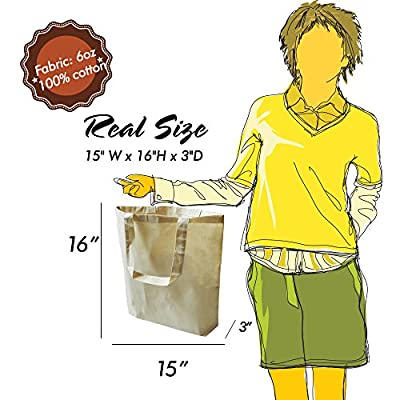 "Eco Friendly Natural Cotton Canvas Tote Bag 15"" X 16"" X 3"" Shopping Bag, Craft Bag, Beach Bag, Grocery Bag, Travel Bag, Tote Bag for School, Book Bag, Diaper Bag"