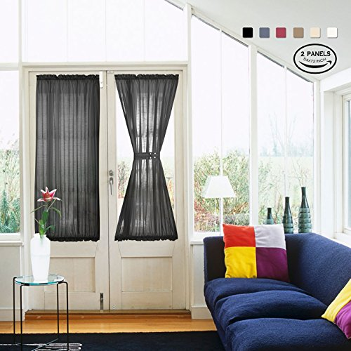 Silk Sheer Curtains (Black Sheer French Door Curtain Panels by Vangao set of 2 Pieces Faux Silk Sliding Door Curtains 54