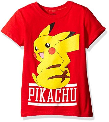 Pokemon Big Girls Pikachu Short-Sleeved Tee, Red, -