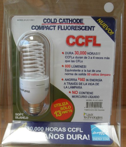13 Watt Cold Cathode CCFL Compact Fluorescent Light Bulb - Soft White