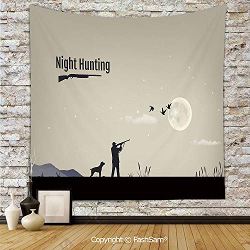 (FashSam Hanging Tapestries Process of Hunting for Ducks in The Night Reeds Marsh Full Moon Stars Decorative Wall Blanket for Living Room Dorm Decor(W51xL59))