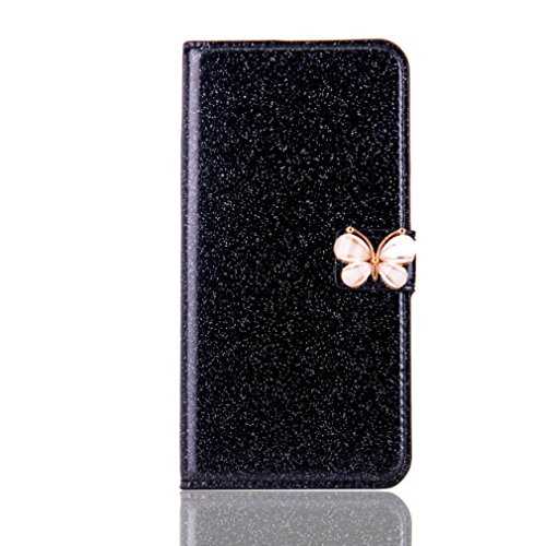 Price comparison product image Stand Wallet Card Case Cover,Elaco Women Iphone Case For iPhone 6/6s 4.7 inch /For iPhone 6 Plus 5.5inch/ iPhone 7 4.7inch/iPhone 7 Plus 5.5inch (Black, iPhone 6 Plus/6s Plus 5.5inch)