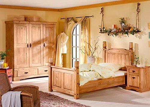 Schlafzimmer-komplett-Mexican-Kiefer-massiv-Braun-Massivholz-100-x-200
