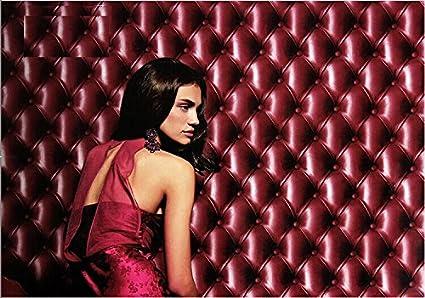 QIHANG Modern Minimalist Three Dimensional Effect Imitation Leather PVC Wallpaper Roll Ruby Red Color 053