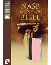 NASB, Thinline Bible, Leathersoft, Pink/Brown, Red Letter Edition