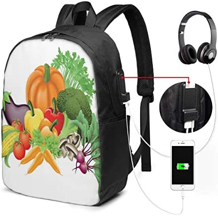 Cartoon Drawing Style Fall Harvest Yield Fresh and Tasty Vegetables Bell Peppers Laptop Backpack Business Travel Backpack with USB Charging Port & Headphone Interface for College Student