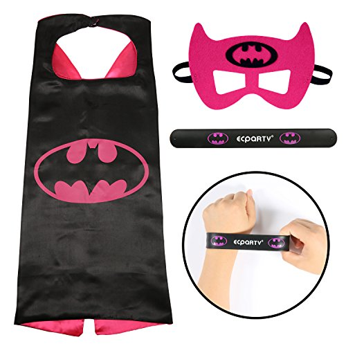 [Ecparty Superhero Cape and Mask and Bracelets Costumes Set for Kids (Bat girl)] (Iron Man Shirt And Mask Costumes)