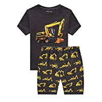 Family Feeling Little Boys Excavator Pajamas Short Sets 100% Cotton Toddler Kid 2T