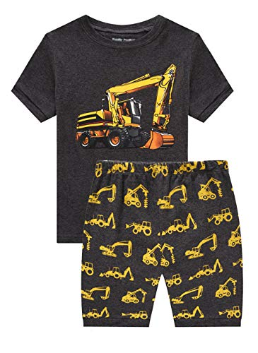 Family Feeling Baby Boys Excavator Pajamas Short Sets 100% Cotton Grey Infant Kid 18-24