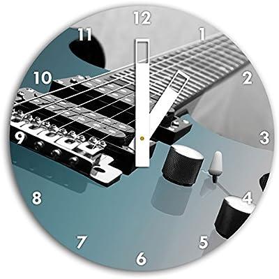 Primer plano de un negro blanco, reloj de pared de guitarra eléctrica/con las manos y Facial cuadros artículos de decoración, Designuhr, aluminio compuesto ...