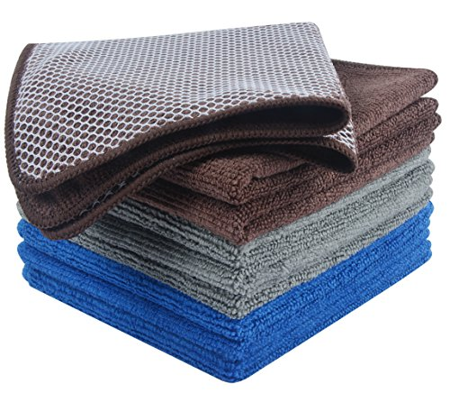 (KinHwa Microfiber Dish Cloths Super Absorbent Kitchen Wash Cloth Dish Rags for Washing Dishes Fast Drying Cleaning Cloth with Scrub Side (Greyx3+Brownx3+Dark Bluex3, 12inchx12inch))