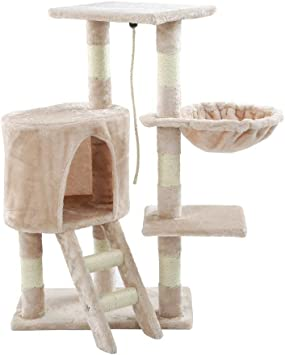 Blackpoolaluk Multi Cat Tree Stable Cat Scratch Posts Function Cat Climbing Tower Toys with Cat Home for IndoorOutdoor Cats Activity (96 Beige)
