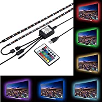 ZRUI Led Strip Lights for 40-60 inches TV Backdrop Lighting,USB LED TV Backlight Kit with Remote, 16 Color 5050 Leds Bias Lighting for HDTV PC Monitor Home Theater Decoration (1 for 2pcs set)