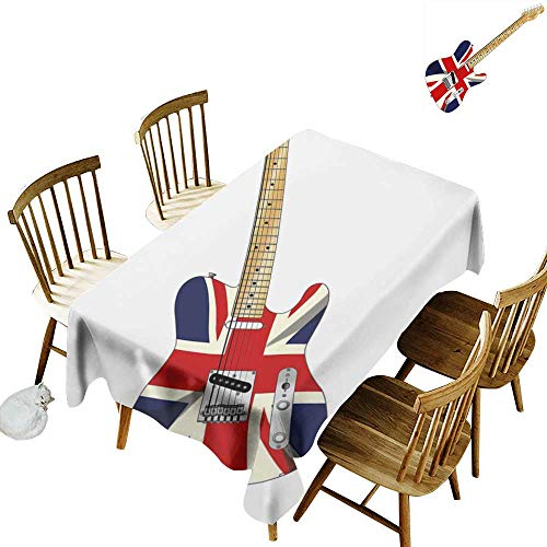 W Machine Sky Rectangular Tablecloth Union Jack Classical Electric Guitar UK Flag Great Britain Music Instrument W52 xL70 for Family Dinners,Parties,Everyday Use