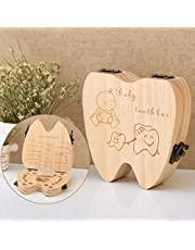 Anncus Baby Tooth Box Organizer For Baby Save Milk Teeth, Wood Storage Box Tooth Shaped Collecting LX1984