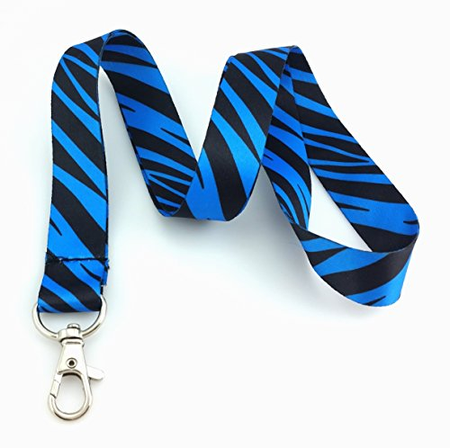Electric Blue and Black Zebra Animal Print Lanyard Key Chain Id Badge Holder ()