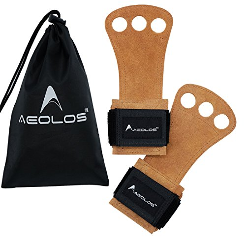 AEOLOS Leather Gymnastics Hand Grips-Great for Gymnastics,Weight Lifting,Pull Ups,Kettlebells and CrossFit Training (Brown(2 layers leather), (Brown Chin Strap)