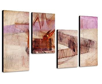 30x70+30x50+30x50+30x70cm 130x70cm 4 teiliges abstraktes Keilrahmenbild abstraktes Wandbild mehrteilig Gem/älde-Stil handgemalte Optik Vintage Augenblicke Wandbilder Das passt an jede Wand