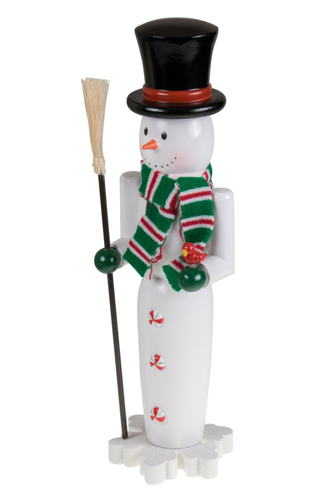 "Snowman Nutcracker by Clever Creations | Dressed with Knitted Scarf and Top Hat | Painted Details | Festive Christmas or Winter Decor | Collectable 100% Wood | Perfect for Shelves and Tables |15"" Tall"