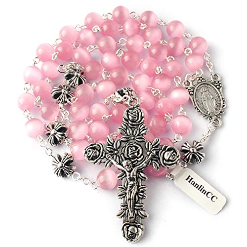 (HanlinCC 8mm Pink Cat Eyes Beads Rosary Necklace with 10mm Anti-Silver Metal Cross Glory Beads with Miraculous Medal and Rose Crucifix with Gift Box)