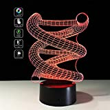 Deerbird 3D DNA Spiral Visual Optical Illusion Colorful LED Touch Switch Desk Table Lamp Night Light for Christmas Prank Gifts Romantic Holiday Creative Gadget (USB and 3 AA Battery Powered Modes)