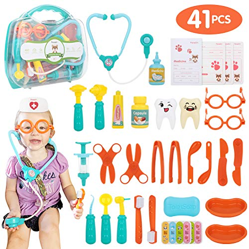 Peradix Kids Doctor Kit 41 Pieces Pretend Play Dentist Medical Kit with Stethoscope and Nurse Hat, Portable Case for Kids Doctor Roleplay Costume Dress Up Game, Age 3+ Boys and Girls (Portable Hat Box)
