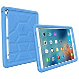 iPad Pro 9.7 Case - Poetic Rugged Protective Silicone Case [Corner/Bumper Protection][Grip][Sound-Amplification][Bottom Air Vents] w/ Apple Pencil Holder for iPad Pro 9.7 (2016) Blue