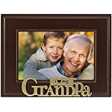 Malden I Heart Brass Word Grandpa Picture Frame, 4-Inch by 6-Inch